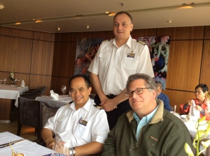 Simon De Boer, Hotel Director, Ida Bagus Sugiantha and Harvey Leon Frydman enjoy a leisurely lunch in the MS Veendam's Pinnacle Grill.