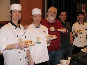 Howard Steven Frydman samples some Asian cuisine presented by William Chen and staff of the Ginza Restaurant a Group.